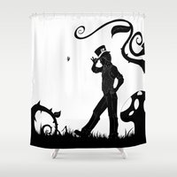 mad hatter Shower Curtains featuring Mad Hatter in Wonderland by TwinEnigmaDesign