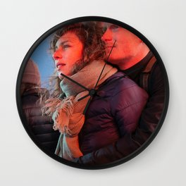 Couple Gazing at Lights Wall Clock