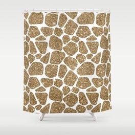 Glitter Giraffe Animal Print Pattern Shower Curtain