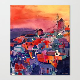 Sunset on Santorini Canvas Print