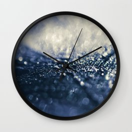 Peacock Macro Feather and Waterdrops Wall Clock