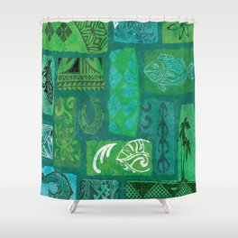 Vintage Hawaian Tapa Print Shower Curtain