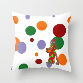 Monkey and Dots Throw Pillow