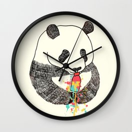 Panda Loves Ice Cream Wall Clock
