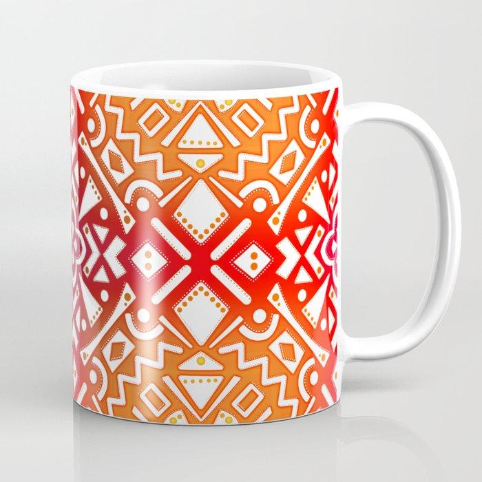 Tribal Tiles II (Red, Orange, Brown) Geometric Coffee Mug