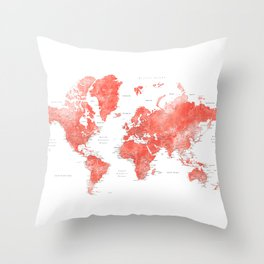 Living coral watercolor world map with cities Throw Pillow