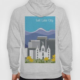 Salt Lake City, Utah - Skyline Illustration by Loose Petals Hoody