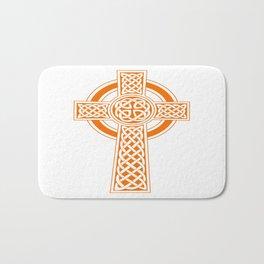 St Patrick's Day Celtic Cross Orange and White Bath Mat