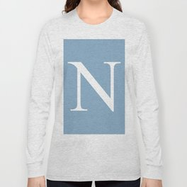 Letter N sign on placid blue background Long Sleeve T-shirt