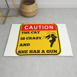 Warning - Crazy cat with a gun Rug