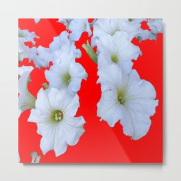 White Garden Petunia Flowers On  red Art Metal Print