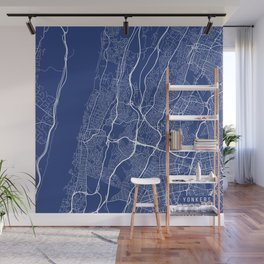 Yonkers Map, USA - Blue Wall Mural