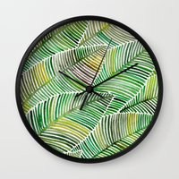 tropical Wall Clocks featuring Tropical Green by Cat Coquillette