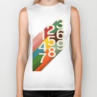 budi Biker Tanks featuring Retro Numbers by Picomodi