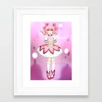 madoka Framed Art Prints featuring Madoka by lazylogic