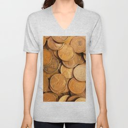 Watercolor Coins, Lincoln Wheat Pennies, 1952 01 Unisex V-Neck