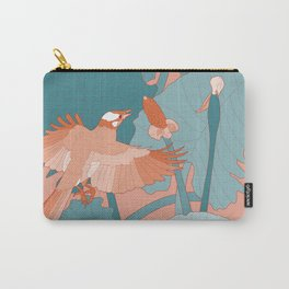 Orange Birds With Turquoise Leaves Carry-All Pouch
