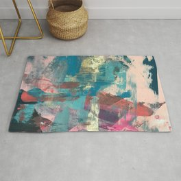 Sugar Rush [2]: a colorful, abstract mixed media piece in pinks, blues, and gold Rug