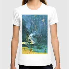 James McNeill Whistler - Top Quality Art - Nocturne-Black and Gold-Falling fireworks T-shirt