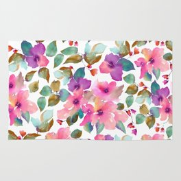 Pink and purplre florals. Watercolor flowers Rug