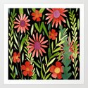 Flower Burst Orange and Black, floral pattern design by janicemacdougall