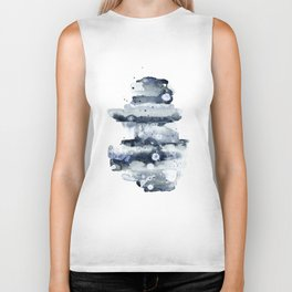 Indigo Abstract Watercolor No.1 Biker Tank