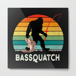 Bass Quatch Angler Fish Vintage Gift Metal Print