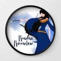 ravenclaw Wall Clocks featuring Rowena Ravenclaw by Hailey Del Rio