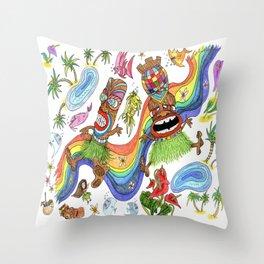 Hawaiian Tiki Play Date Throw Pillow