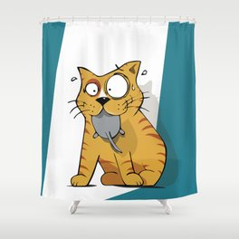 Cat gluttony Shower Curtain