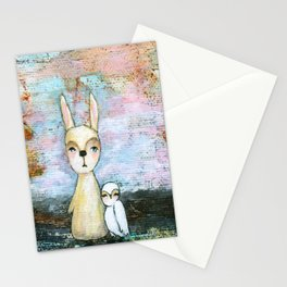My Best Friend, Rabbit Owl Painting Stationery Cards