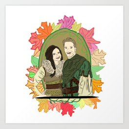 Outlaw Queen Autumn Love - Once Upon A Time's Regina and Robin Art Print