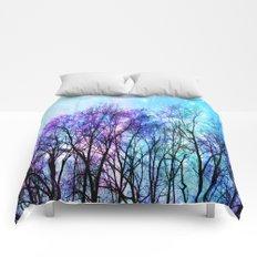 Black Trees Playful Pastels Space Comforters