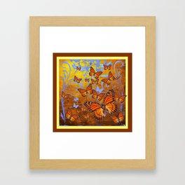 Caramel Color Monarch Butterflies Butterflies  Fantasy Abstract Framed Art Print