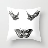 tattoos Throw Pillows featuring Tattoos by Hoeroine