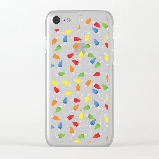 Endless Christmas Lights (On Black) Clear iPhone Case