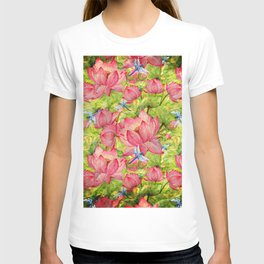 Floral Lotus Flowers Pattern with Dragonfly T-shirt