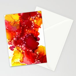 Red & yellow abstract ink art Stationery Cards