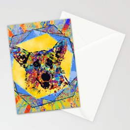 Colorful Corgi Portrait Abstract Mixed Media Stationery Cards
