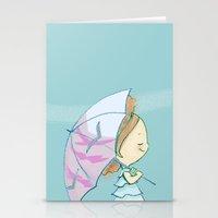 umbrella Stationery Cards featuring Umbrella by Susana Miranda ilustración