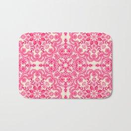 Hot Pink & Soft Cream Folk Art Pattern Badematte