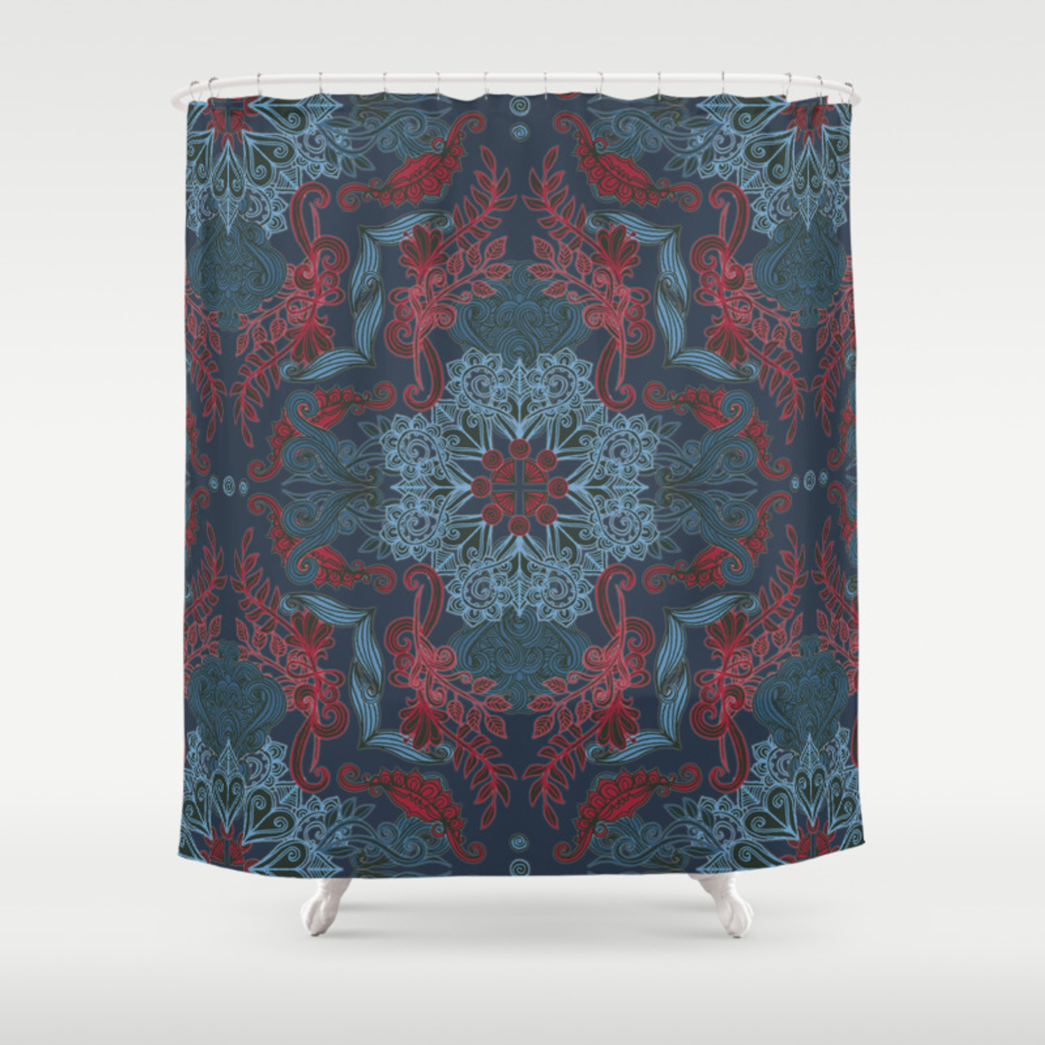 Vintage Fancy A Pattern In Deep Teal Red Shower Curtain
