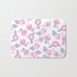 Hand painted pastel pink lavender modern floral Bath Mat