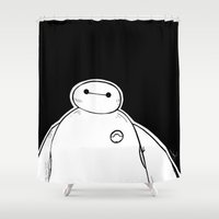 big hero 6 Shower Curtains featuring Baymax from Big Hero 6 by Joan Pons
