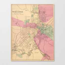 Vintage Map of Worcester MA (1871) Canvas Print