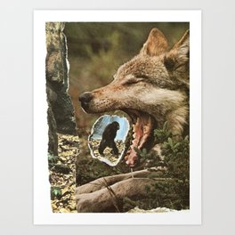 Spitting out or eating? Art Print