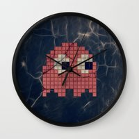 pac man Wall Clocks featuring Pac-Man Pink Ghost by Psocy Shop