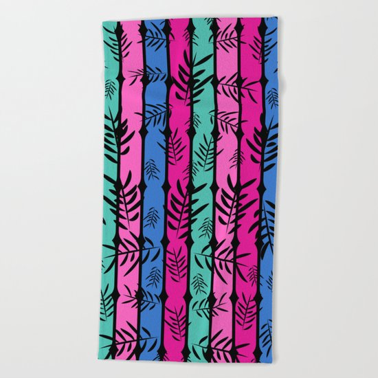 Fall over colorful stripes Beach Towel
