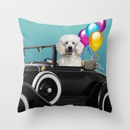 Poodle Dog in Cabriolet with Balloons  Throw Pillow