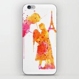 Watercolor Love Couple in Paris iPhone Skin